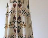 1970s sweater cape Heart poncho folksy boho sweet
