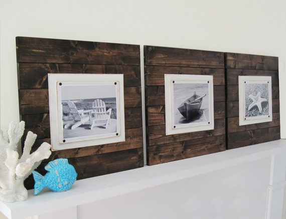 Set of 3 Xtra Large Dark Stained Plank Frames for 8x10