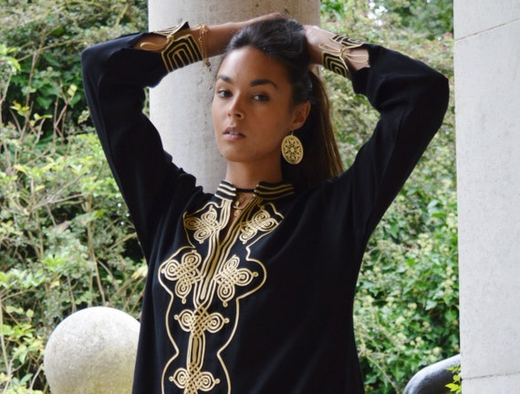 Autumn Trend | New Black Boho Moroccan Caftan Kaftan - Aisha-loungewear,resortwear, coverup,Birthdays,Honeymoon, Maternity Gift