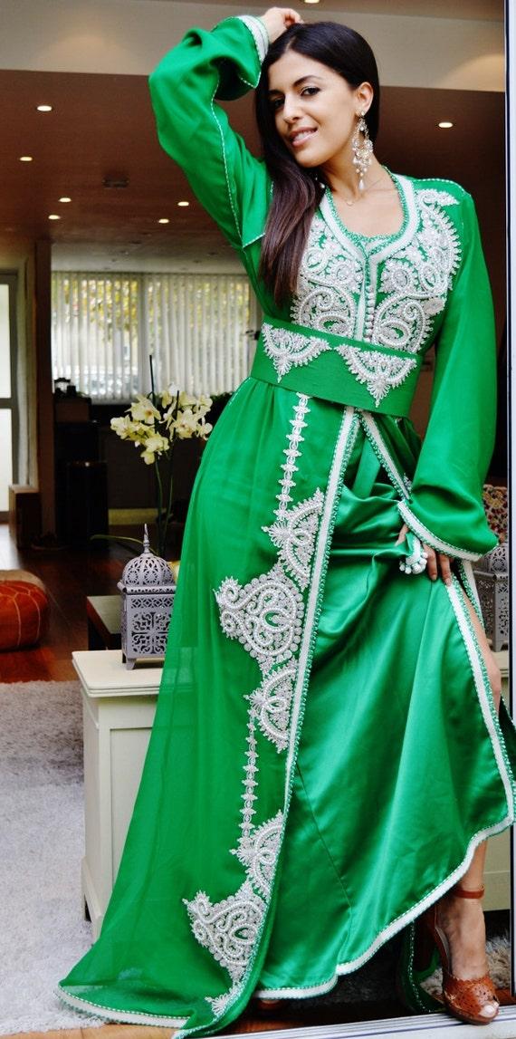 Moroccan Green with White Embroidery Caftan Kafan-Noura-moroccan parties, weddings,abbayas, honeymoon, birthday, anniversary gift