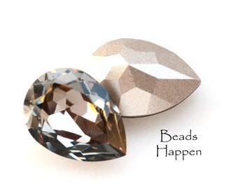 Vintage 18x13mm Swarovski Black Diamond Pear Crystals, 18x13 Pears, 18x13 Swarovski Pears, Crystals, Jewels, Gray Grey, Quantity 2