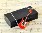 Electric Guitar Necklace in Case, Fender Stratocaster, Guitar Jewellery