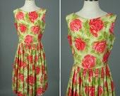 vintage 1950s floral dress • PINK & GREEN rose print polished cotton