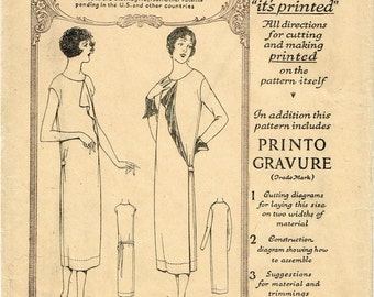 1920s Flapper Dress Chemise Wrap Dress Front Flounce Cap or Long Sleeves McCall 3880 Uncut FF Bust 36 Women's Vintage Sewing Pattern