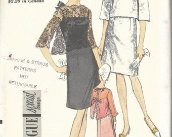 1960s Cocktail Dinner Slip Dress and Back Button Jacket Vogue 7084 Uncut FF Satin Sew In Label Size 12 Bust 32 Womens Vintage Sewing Pattern