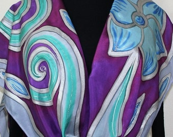 Purple Lavender Grey Hand Dyed Silk Scarf FLOWER DREAMS, in Serveral SIZES. Hand Painted Silk. Holidays Gift. Bridesmaid Gift. Mother Gift.