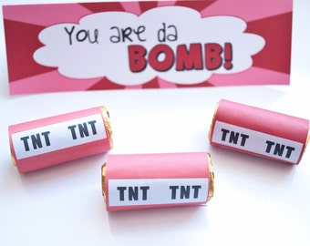 Printable You are da BOMB Valentine Treat Bag Kit - Immediate Download