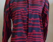 "Vintage Saint Clair Paris Red & Black Long Sleeved Geometric Print Blouse Bust 44"" Waist 42"""