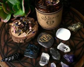 Third Eye Chakra (Ajna)- Herbal Incense and Crystals Set