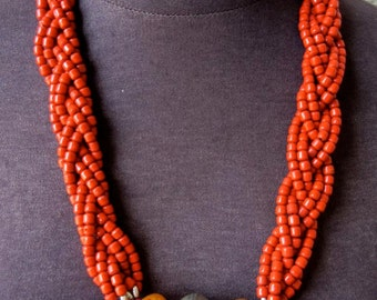 Vintage Moroccan Berber Coral and Amber Tribal Necklace