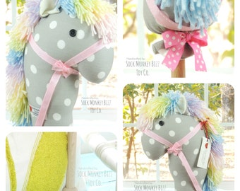 Stick Horse, Handmade Girl's Cowgirl Pastel Rainbow Hobby Horse Ride On Toy