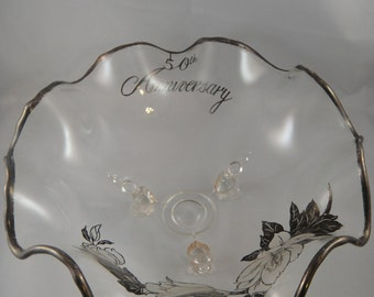 50th Anniversary 3 footed Glass Bowl Silver Trim