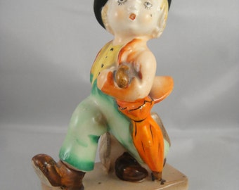 Figurine Blonde Boy Carrying Suitcase and an Umbrella Made in Japan