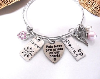 Super Sale Now Pet Memorial Bracelet, Pet Memorial Jewelry, Loss of Pet, Dog Loss, Cat Loss, Paw Prints on our Hearts, Pet Loss, Animal Loss