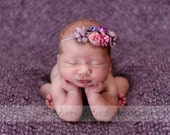 Newborn Floral Headband - Lilac Pink and Purple Flowers - Newborn Headband - Baby Headband - Skinny Elastic - Small Flower Crown - Lavender