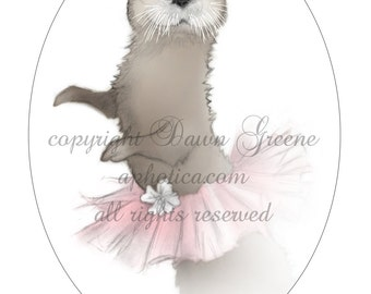 otter in a pink tutu original art card