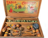 Antique Table Croquet Set, Complete Game for 4 Players, Original Wood Dove Tailed Box