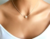 pearl necklace | bridal | white pearl necklace | bridesmaid | girlfriend | mothers | gifts for mom | best friends | solitaire pearl
