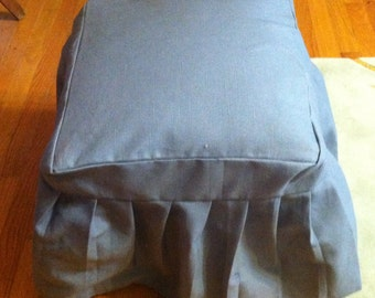 French Chic Long Flowing Ruffles Fitted SlipCover for Your Foot Stool Ottoman or Bench  -Your Fabric Choice- Custom made to fit