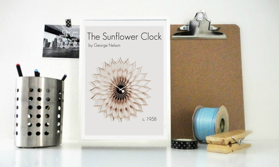 Art Print The Sunflower Clock, George Nelson Clock, Vintage Home Accessories, Vintage Poster, Home Decor, Wall Art