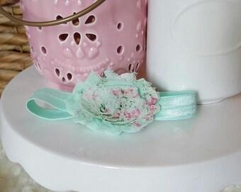Mint Floral Shabby Chic Headband, baby headband, infant headband, baby girl headband, flower headband, flower bow, baby bow