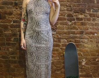 SALE (was 36) 90s Snakeskin Laundry by Shelli Segal Dress