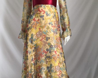 So Dreamy, So 70's All Over Floral Wispy, Flowing Chiffon Maxi by Jack Bryan