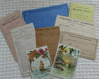 Vintage Report Cards - Public Schools - Mixed Media, Altered Art, Scrapbooking - 9 in Lot