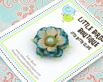 Itty Bitty Baby and Toddler Hair Clip Blue Glitter Girl