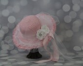 Tea Party Hat; Pink Easter Bonnet with Ribbon; Girls Sun Hat; Pink Easter Hat; Sunday Dress Hat; Derby Hat; 16251