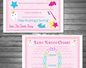 Tooth Fairy Certificate, and Lost Tooth Chart, Printable File, INSTANT DOWNLOAD, Bonus First Lost Tooth Certificate Included