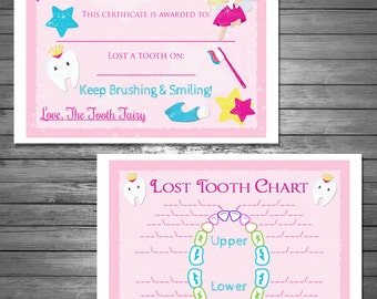 Kids tooth fairy certificate tooth fairy printable tooth fairy certificate and lost tooth chart digital file instant download bonus spiritdancerdesigns Choice Image