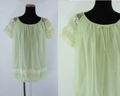 Vintage Sixties Lingerie - 1960s Lime Green Night Shirt - 60s Babydoll Top - Green Pin Up Lingerie