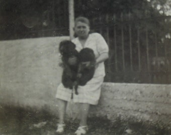 Vintage Photograph - Woman Sat on a Wall with Two Dogs on her Lap