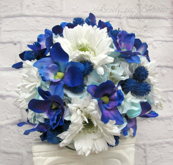 Gerbera Flower Wedding Bouquets: Bridal Bouquet Blue Orchid White Gerbera Daisy Wedding Bouquet