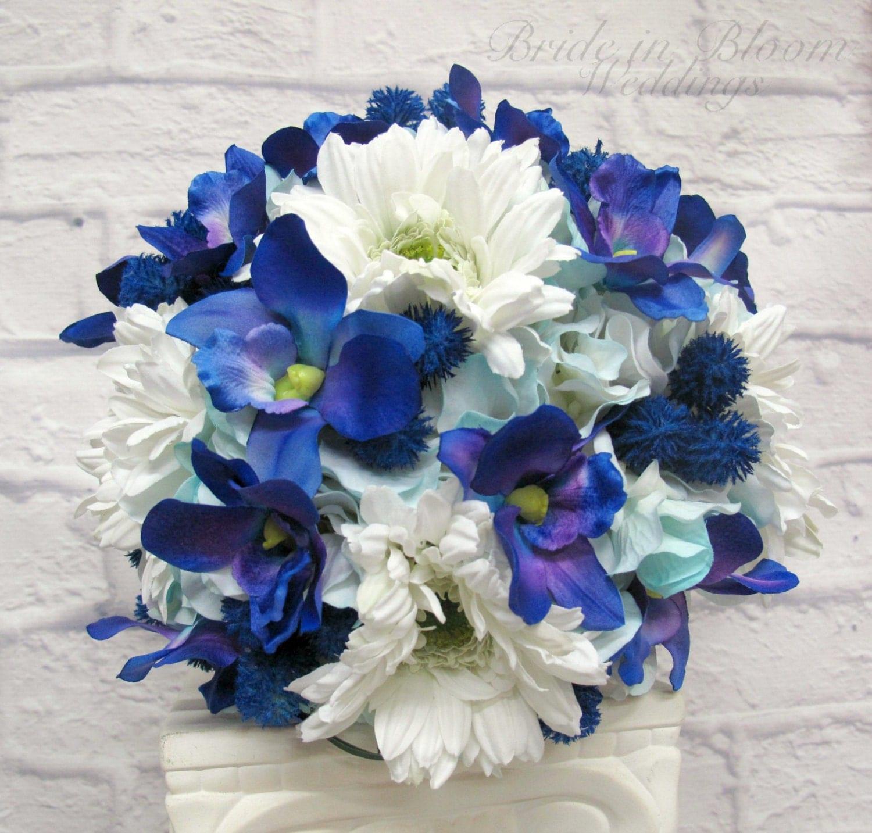 Bridal Bouquet Of Gerbera Daisies : Bridal bouquet blue orchid white gerbera daisy wedding