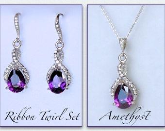 Purple Jewelry Set, Amethyst Bridal Set, Crystal Necklace & Earrings Set, Bridal Jewelry Set, Customize Color RIBBON TWIRL