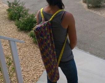 Crochet Yoga Mat and Accessories Bag - Blue, Green, Yellow, Orange, Pink