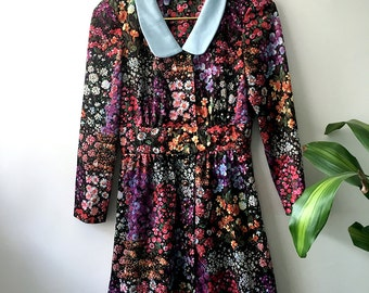 60s Floral Dress with Copper Buttons - S/M
