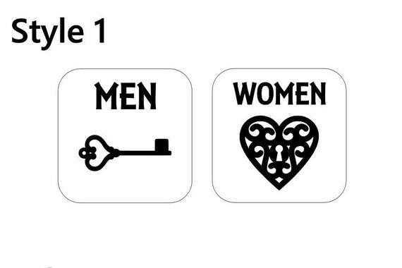 Men Women Bathroom / Ladies / Men / Gentlemen / vinyl sign / decal / Restroom sign / Toilet decal / Men / Set of 2