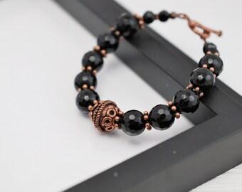 Black Beaded Bracelet, Antique Copper Bracelet, Black and Copper Bracelet, Black Bracelet, Victorian Bracelet, Black Gothic Bracelet
