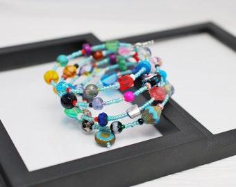 Memory Wire Bracelet, Multicolored Wrap Bracelet, Chunky Wrap Bracelet, Beaded Bracelet, Boho Bracelet, Beaded Wrap Bracelet