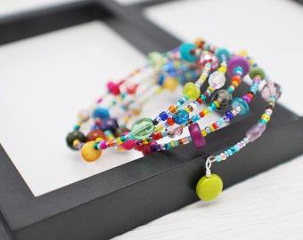 Colorful Wrap Bracelet, Memory Wire Bracelet, Rainbow Hippie Bracelet, Beaded Bracelet, Boho Bracelet, Beaded Wrap Bracelet, Free Shipping