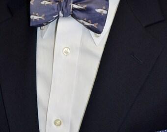 Snook Men's Bow Tie  or Tie on Organic Cotton, Adjustable, Self-tie or Pre-tied, Fish Bow Tie, Fall Bow Tie, Blue Bow Tie, Snook Fish