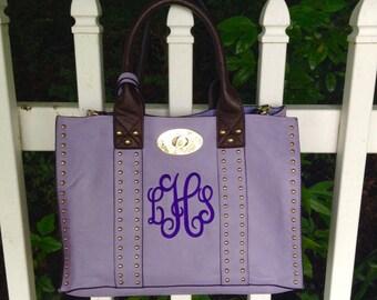 Monogrammed studded purse ~ Sorority tote ~ sigma sigma sigma ~ purple tote bag