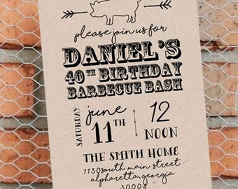 BBQ Birthday Party - Man's Birthday Invitation - Backyard Barbecue Invitation - Customize Colors and Wording - Printable - 5x7