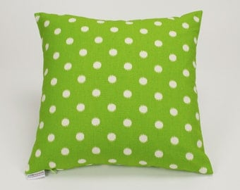 Chartreuse Green Ikat Dots Throw Pillow Cover - 16 inch