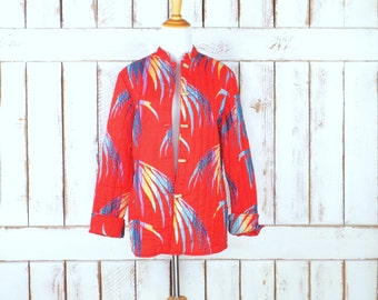 Vintage Red quilted jacket/tropical print jacket/vintage quilted 70s blazer