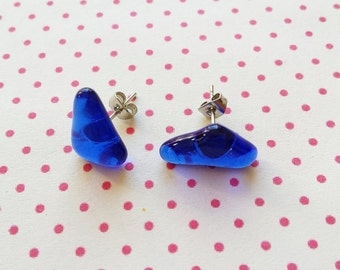 Triangular blue sea glass earrings unique one of a kind handmade gift - free shipping
