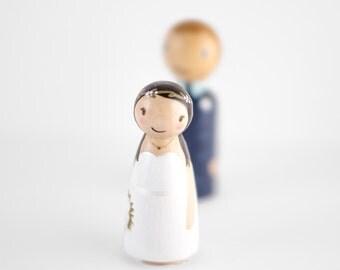 Peg People Cake Topper - gift for her - custom wooden pegs - peg dolls - bride and groom cake topper - custom topper - anniversary gift idea